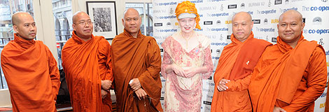 Vivienne Westwood and monks at the BAFTA premiere of Burma VJ