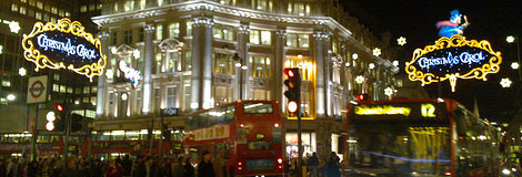 A Christmas Carol lights on Oxford Street