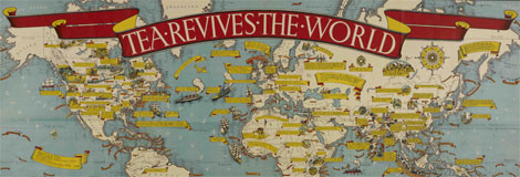 MACDONALD GILL 'Tea Revives the World' (1940) courtesy of the British Library Board