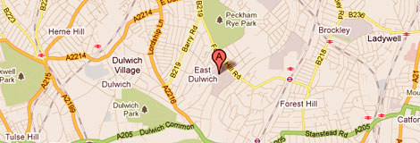 East Dulwich map